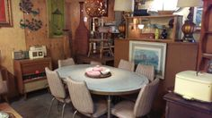 Mid-century dining set, radios, art, dishes, dressers, bedframes, lamps etc galore!