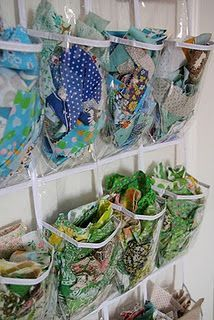 fabric scraps--LOVE this idea!  Too bad I was at the $ Store earlier today...