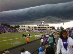Ominous storm clouds in Manhattan, Kansas at Kansas State University on Saturday Sept. 25, 2010.  We were there that day we had to sign the military family covenant on the field.  That was a crazy scary long day!