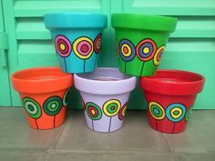 hand painted pots in all sizes by katharine . Flower Pot Art, Flower Pot Design, Flower Pot Crafts, Clay Pot Crafts, Painted Plant Pots, Painted Flower Pots, Ceramic Painting, Diy Painting, Decorated Flower Pots