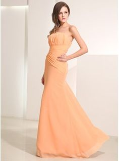 A-Line/Princess Strapless Floor-Length Chiffon Holiday Dress With Ruffle (020014195) - JJsHouse