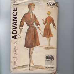 1960s Sewing Pattern Advance 9296 Misses One Piece Dress Pleated Skirt Dickey Edith Head Designer Size 14 Bust 34 60s UNCUT by historicallypatterns on Etsy https://www.etsy.com/listing/159428405/1960s-sewing-pattern-advance-9296-misses