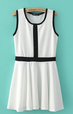 Super CUTE! Black and White Pleated Sleeveless Color Block Chiffon Dress #Black_and_White #Summer_2014 #Fashion