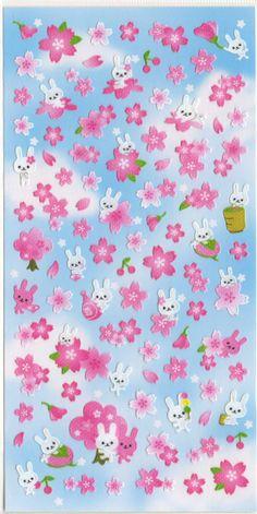 Kawaii Japan sticker Sheet Assort: Hanami - Cherry Blossoms and Bunnies