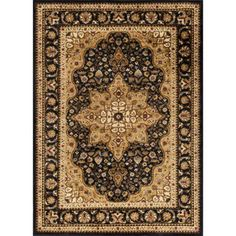 Bliss Rugs Fredes Traditional Area Rug, Black