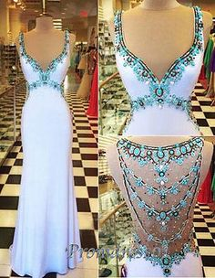 V-neck senior prom dress with straps, long ball gown, 2016 unqiue design handmade blue chiffon evening dress for teens http://www.promdress01.com/#!product/prd1/4356496055/unique-design-handmade-beaded-long-chiffon-dress