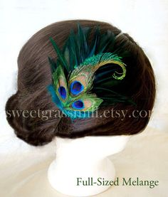 Peacock Feather Pin - MELANGETTE -  Dark Teal and Peacock Feathers - Brooch, Headband or Clip. $20.00, via Etsy.