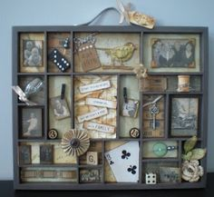 My favorite part it that darling card propped in there at an angle!  Love it!    7 Gypsies Printer's Heritage Tray