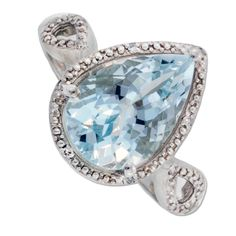 Klein Jewelry Co., Inc.  10K White Gold Pear Shaped Aquamarine and .03ctw Diamond Ring
