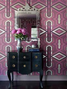 Incorporating Radiant Orchid, The Pantone Color of The Year, Into Your Decor - Realty Times Kitsch, Home Interior Design, Interior Decorating, Decorating Tips, French Interior, Purple Wallpaper, Graphic Wallpaper, Beautiful Mirrors, California Homes
