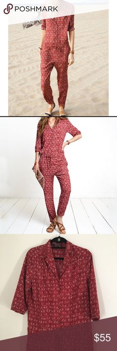 Maison Scotch & Soda Red Printed Jumpsuit Size Medium (Maison Scotch size 2). Excellent condition.  Buttons up the front with a drawstring waist. Super cute and comfy! Scotch & Soda Pants Jumpsuits & Rompers