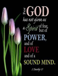 2 Timothy - For God has not given us a spirit of fear, but of power and of love and of a sound mind. Scripture Verses, Bible Verses Quotes, Bible Scriptures, Faith Quotes, Biblical Quotes, Wisdom Bible, Scripture Images, Healing Scriptures, Bible Truth