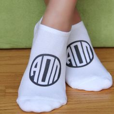 Sorority Greek Letter Circle Monogram on No Show Socks - Sold as a set of 3 pairs - Choose Your Designs ALL 26 NPC groups available!  Alpha Omicron Pi shown here.