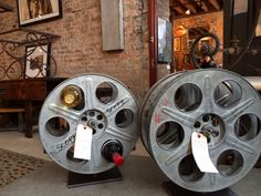 Film reel wine bottle holders - enough said (State Street Salvage - Chicago)