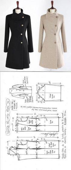 Sobretudo com Gola Inteiriça | DIY - molde, corte e costura - Marlene Mukai