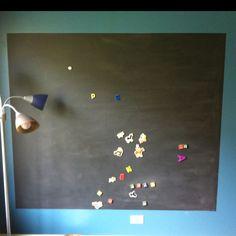 Brady's chalkboard/magnetic wall!