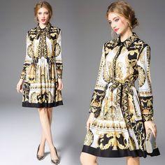 Long Sleeve Bow Collar Baroque Printing Yellow Dress - Uniqistic.com