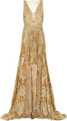 ShopStyle: Julien Macdonald Jacobite lace and printed silk-chiffon gown