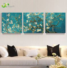 3 Panel Modern Printed Van Gogh Flower Tree Painting Picture Canvas Art Home Decor Wall Pictures For Living Room No Frame PR069
