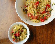 Lemon & Basil Spaghetti Squash, a winter squash dish that capture all the flavors of summer.