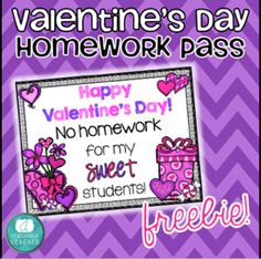 FREE Homework Pass for your students on Valentine's Day!