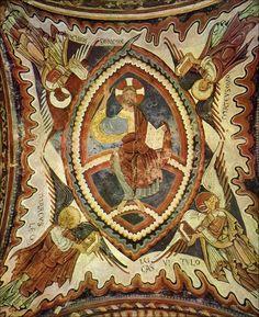 PINTURAS ROMÁNICAS DEL PANTEÓN DE SAN ISIDORO DE LEÓN. S.XII. Se encuentra situado a los pies de la Basílica de San Isidoro de León, lugar en el que durante la Edad Media recibieron sepultura la mayoría de los reyes y reinas del reino de León. Es un espacio rectangular con pórtico, de unos 8 metros de lado, con dos robustas columnas, sobre las que se apoyan siete arcos, que dividen el espacio en tres naves, con sus muros pintados profusamente.