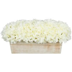 Artificial Hydrangea in White-washed Wood Ledge - Transitional -... ❤ liked on Polyvore featuring home, home decor, floral decor, artificial floral arrangement, artificial silk flowers, artificial flowers, faux floral arrangement and hydrangea fake flowers