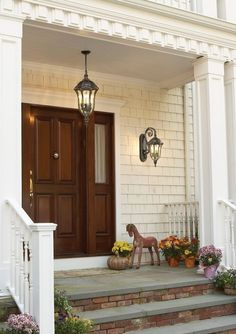 Front door lighting fixtures colonial 34 Ideas for 2019 Drum Shade Chandelier, House With Porch, Front Door Lighting, Porch Lighting, Front Porch Decorating, Best Front Doors, Colonial House, French Country Chandelier, Outdoor Ceiling Lights