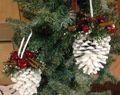 Pinecone Ornament Pine Cone Ornament White di HolidayByGrace