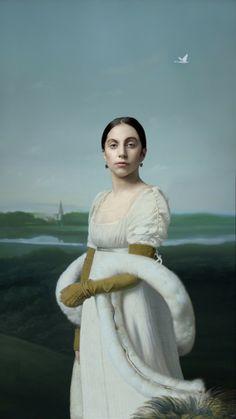 Lady Gaga in one of Robert Wilson's ARTPOP paintings that was displayed in the Louvre in Paris