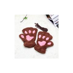 Women Lady Girl Bear Cat Paw Fingerless Gloves Fluffy Plush Paw Glove... ($4.44) ❤ liked on Polyvore featuring accessories, gloves, light coffe, bear gloves, fingerless gloves, cat mittens, mitten gloves and cat gloves