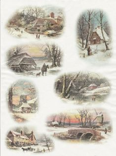 Rice Paper for Decoupage Decopatch Scrapbook Craft Sheet Vintage Winter Cottage