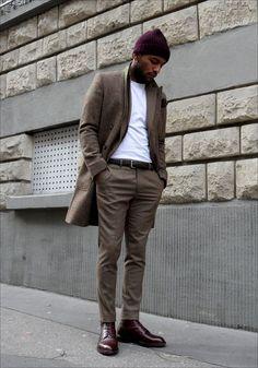 Autumn. Street Style. Dressed. Proper. Slim. Clean. Simple. White & Brown. Coat. Cap. Fashion. True Style. Fall. Clothing. Men. Fashion. Fresh.