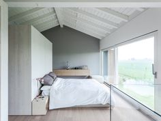 The project involves the recovery of an old country barn partially damaged by the earthquake. The project redefines the interior spaces and the distribution. Master Bedroom Design, Bedroom Designs, Grange Restaurant, Interior Architecture, Interior Design, Barn Renovation, Minimal Home, Storey Homes, Modern Homes