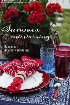 Simple summer Fourth of July party placesetting with bandanas. They're inexpensive and durable!