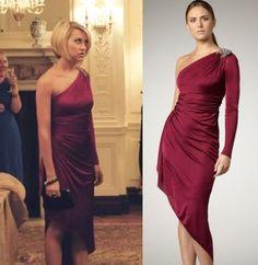Lovestruck The Musical: Harper's (Chelsea Kane) One-Shoulder/ One- Sleeve Red Dress by David Meister #getthelook #lovestruck