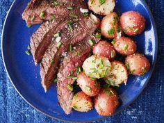 Grilled Flank Steak with Mustardy Potato SaladDelish