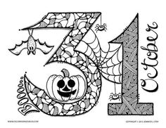 Halloween coloring page. October 31 with pumpkin, bat, and a spider web. Free coloring page from Coloring Pages Bliss. Free Halloween Coloring Pages, Fall Coloring Pages, Printable Coloring Pages, Free Coloring, Adult Coloring Pages, Coloring Books, Coloring Stuff, Mandala Halloween, Halloween Doodle