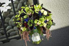 Bouquet, Green, Bridal, Orchids, Calla, Feathers, Peacock