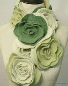 Gorgeous, ultra soft 100% cashmere! I created this one-of-a-kind scarf from many shades of green cashmere sweaters.    Thread one end through