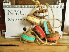 Nautical Vintage Cork Buoys on Rope Hand by searchnrescue2 on Etsy, $42.00