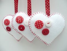 Buttony Heart Felt Decorations - set of 3
