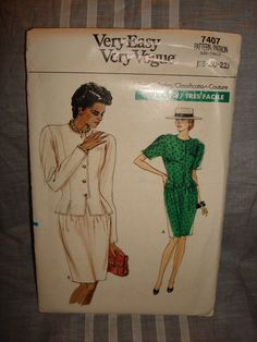 Vintage 1980's VERY EASY Vogue Pattern 7407 by PastPossessionsOnly, $2.50