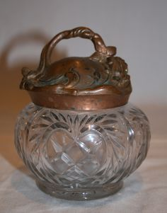 Vintage Pressed Glass Vanity Jar