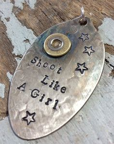 And that's why you never underestimate a girl with a gun. Fork Jewelry, Bullet Jewelry, Metal Jewelry, Dremel, Stamped Jewelry, Handmade Jewelry, Spoon Art, Fork Art, Bullet Crafts