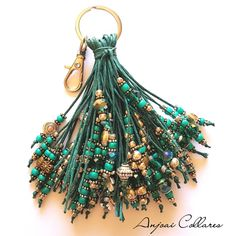 Your place to buy and sell all things handmade Diy Keychain, Tassel Keychain, Leather Keychain, Diy Tassel, Tassels, Beaded Jewelry Designs, Handmade Jewelry, Bead Crafts, Jewelry Crafts