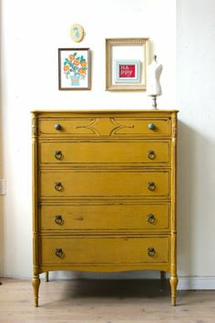 Milk Paint - Mustard Yellow Tallboy Dresser Must do! Leave the top wood though. Yellow Painted Dressers, Yellow Painted Furniture, Yellow Dresser, Colorful Furniture, Paint Furniture, Furniture Makeover, Home Furniture, Furniture Design, Mustard Dresser