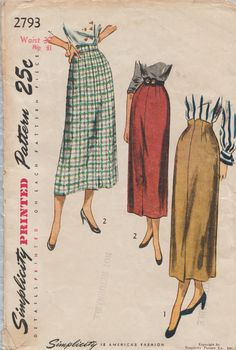 Simplicity 2793 / Vintage 40s Sewing Pattern / Skirt / Waist