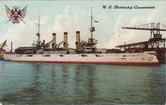U.S. Battleship Connecticut Postcard by Enrique Muller 1906 Unposted