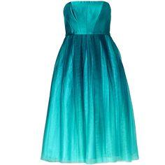 Rental ML Monique Lhuillier Teal Tea Dress (1 780 ZAR) ❤ liked on Polyvore featuring dresses, blue, blue chiffon dress, full skirt, blue dress, strapless chiffon dress and tea dress